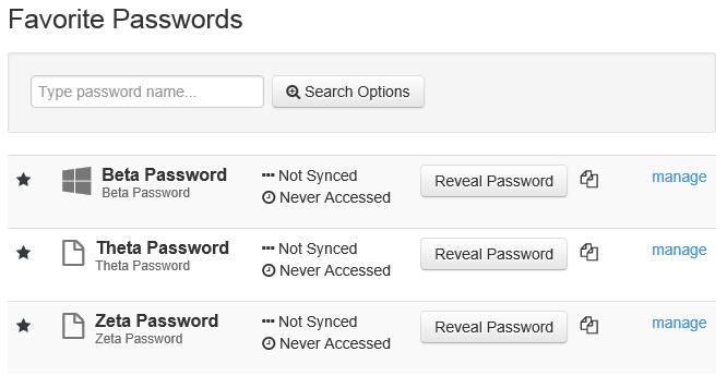 Favorite Passwords
