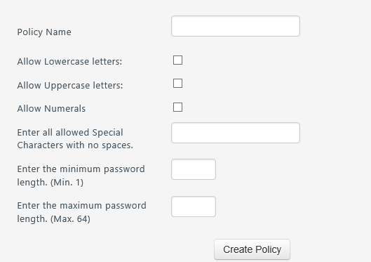 Creating a password policy